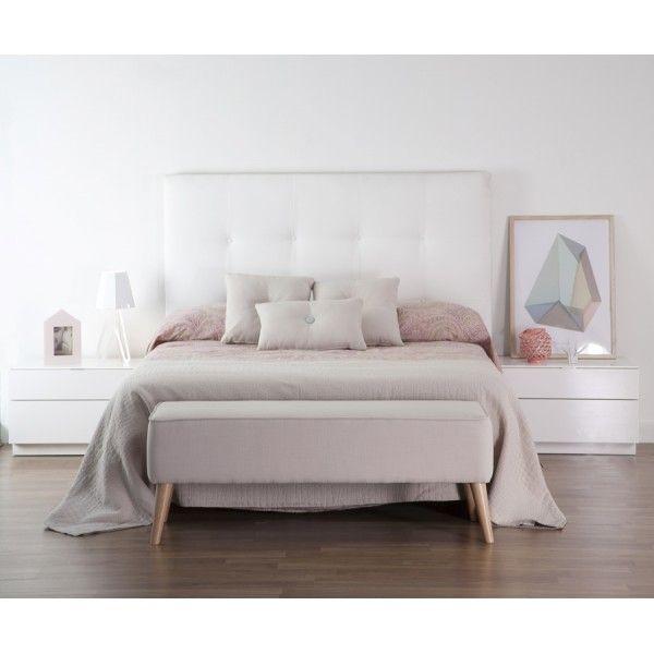 Dyon cabecero tapizado en tela cabecero banquetas y dormitorio - Banquetas dormitorio ...