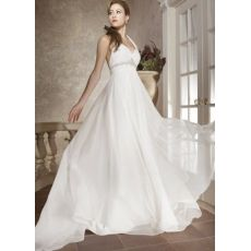 [US$197.99] White Halter Satin And Chiffon Empire Waist V-Neck Wedding Dress