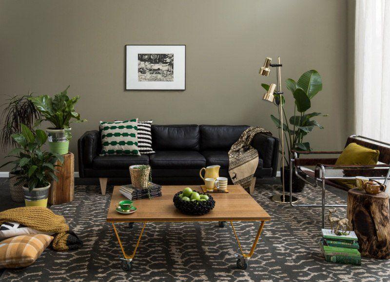Décoration salon association couleur vert kaki et beige et marron