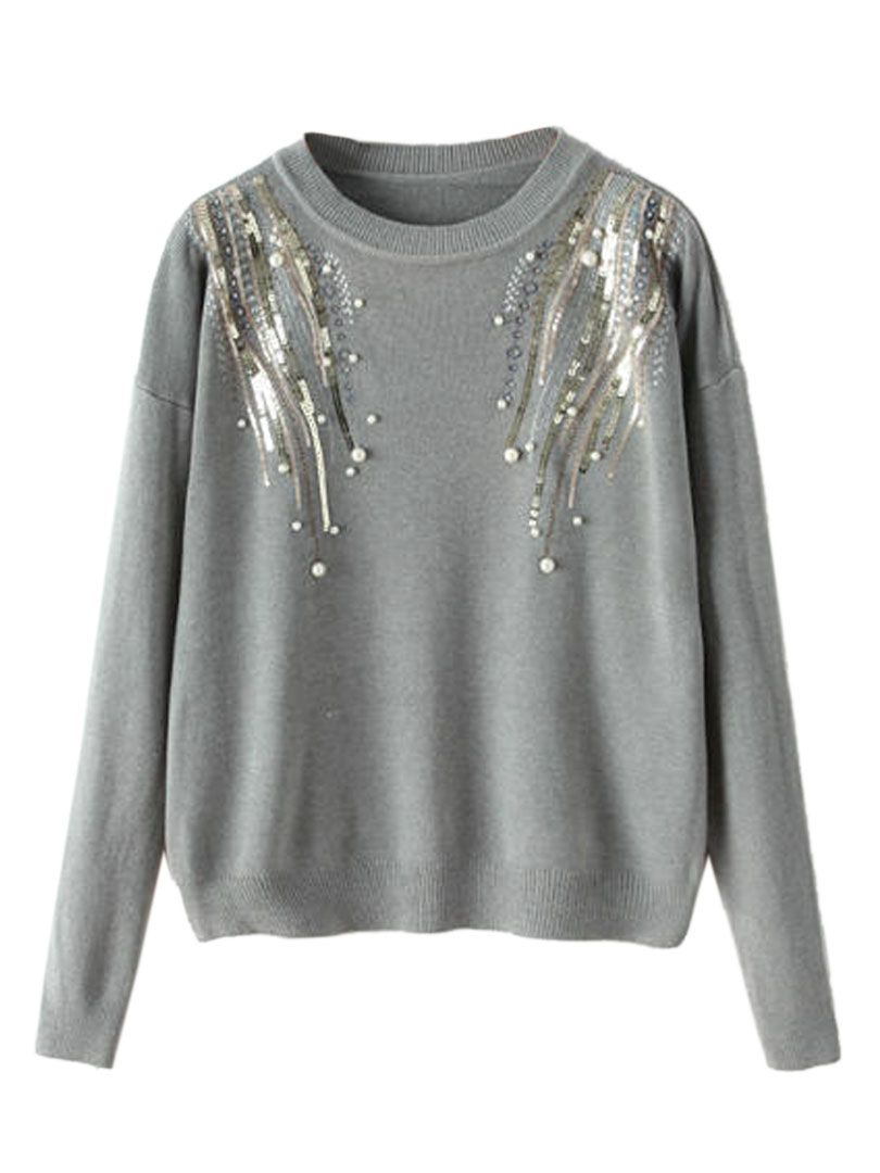Gray Beads And Sequins Detail Long Sleeve Sweater  dda16245fb6b