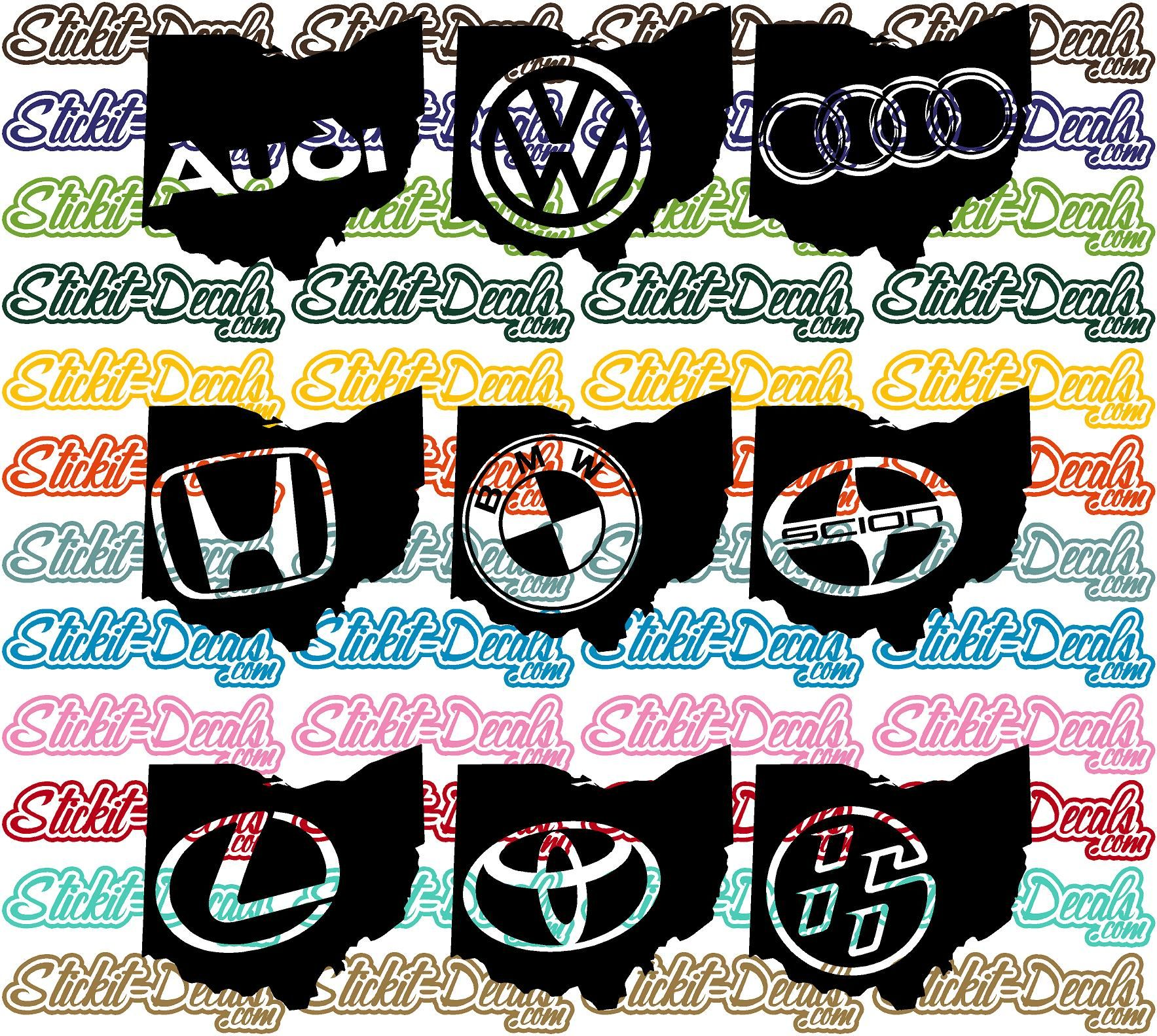 Ohio Silhouette Car Logos Volkswagen VW Audi Acura Honda - Lexus custom vinyl decals for car