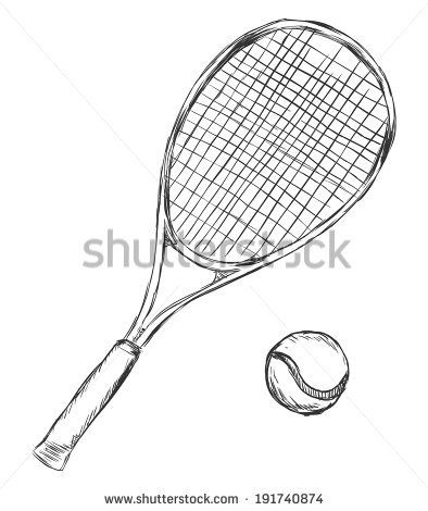 Vector Sketch Tennis Racket And Ball Ball Drawing Vector Sketch Tennis Racket