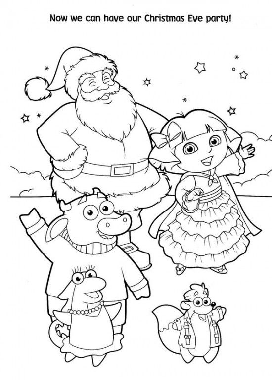Free Printable Dora Christmas Coloring Pages Picture 59 550x769