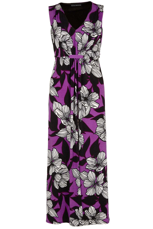 40f2d6a0e3 Ladies Purple David Emanuel Floral Print Tab Front Maxi Dress Bonmarché