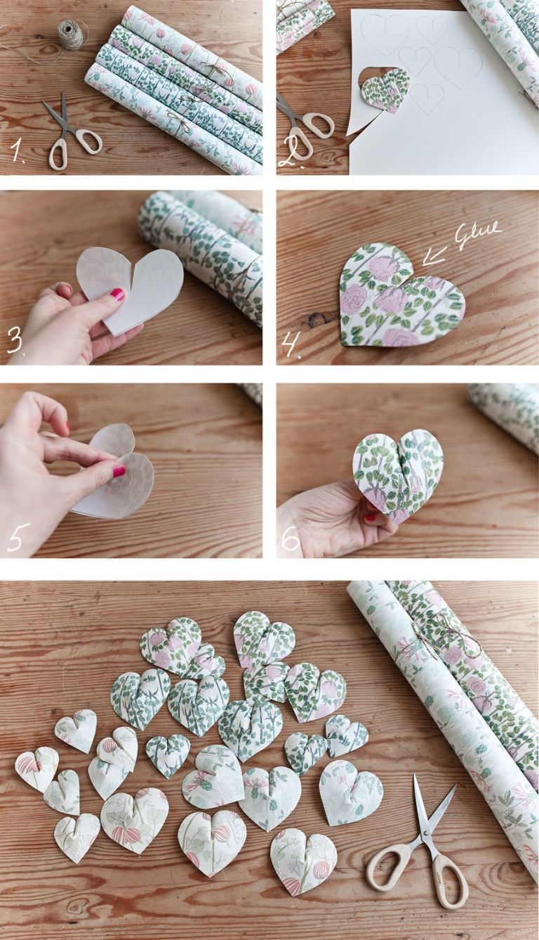 create this pretty paper heart wall hanging in 6 easy steps | arts