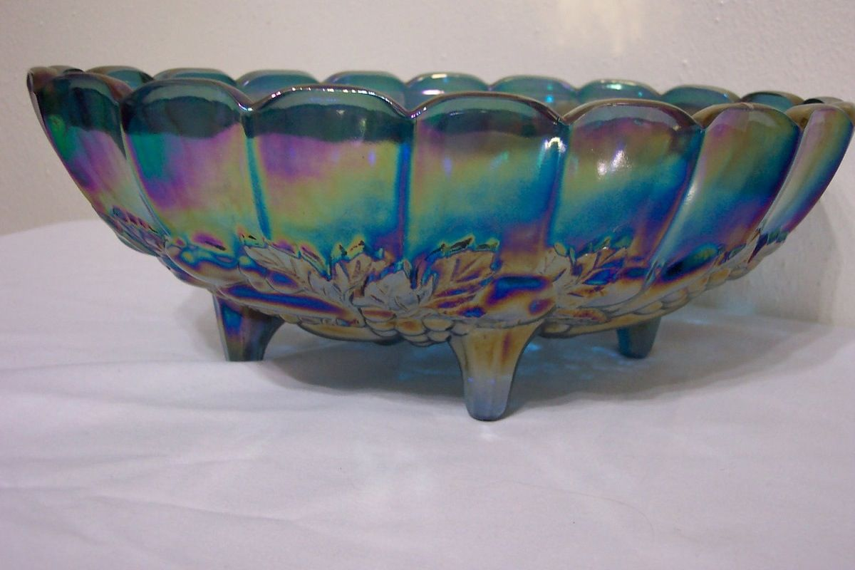 Carnival Glass Fruit Bowl 8 12 tall Gold Glass Serving Dish