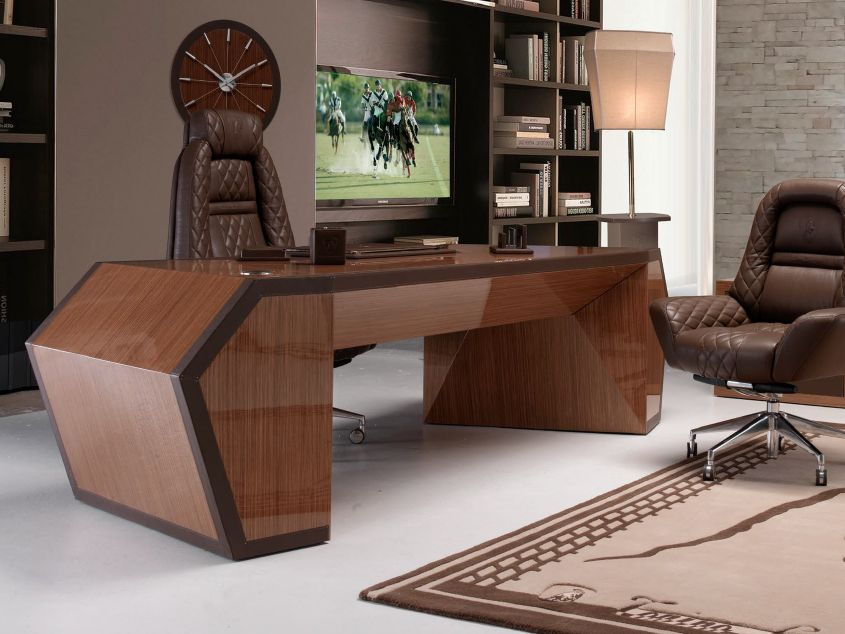 Long Beach Wood Veneer Office Desk Collection By Tonino Lamborghini Casa