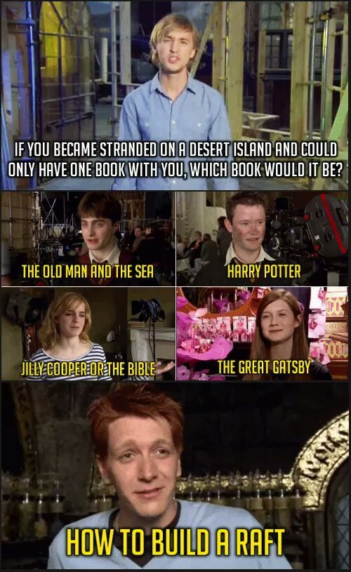 Harry Potter And The Desert Island R Funny Harry Potter Cast Harry Potter Memes Harry Potter Jokes
