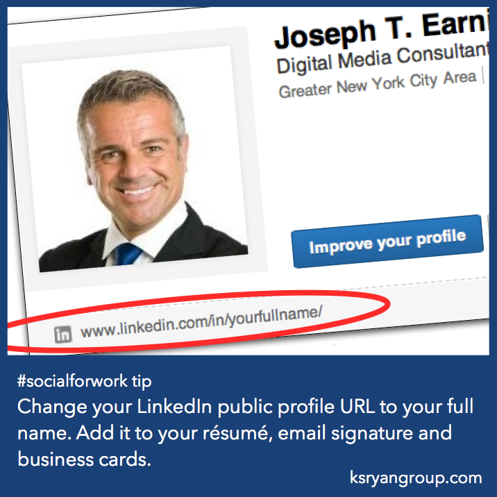 socialforwork tip  change your  linkedin public profile url to your full name  add it to your