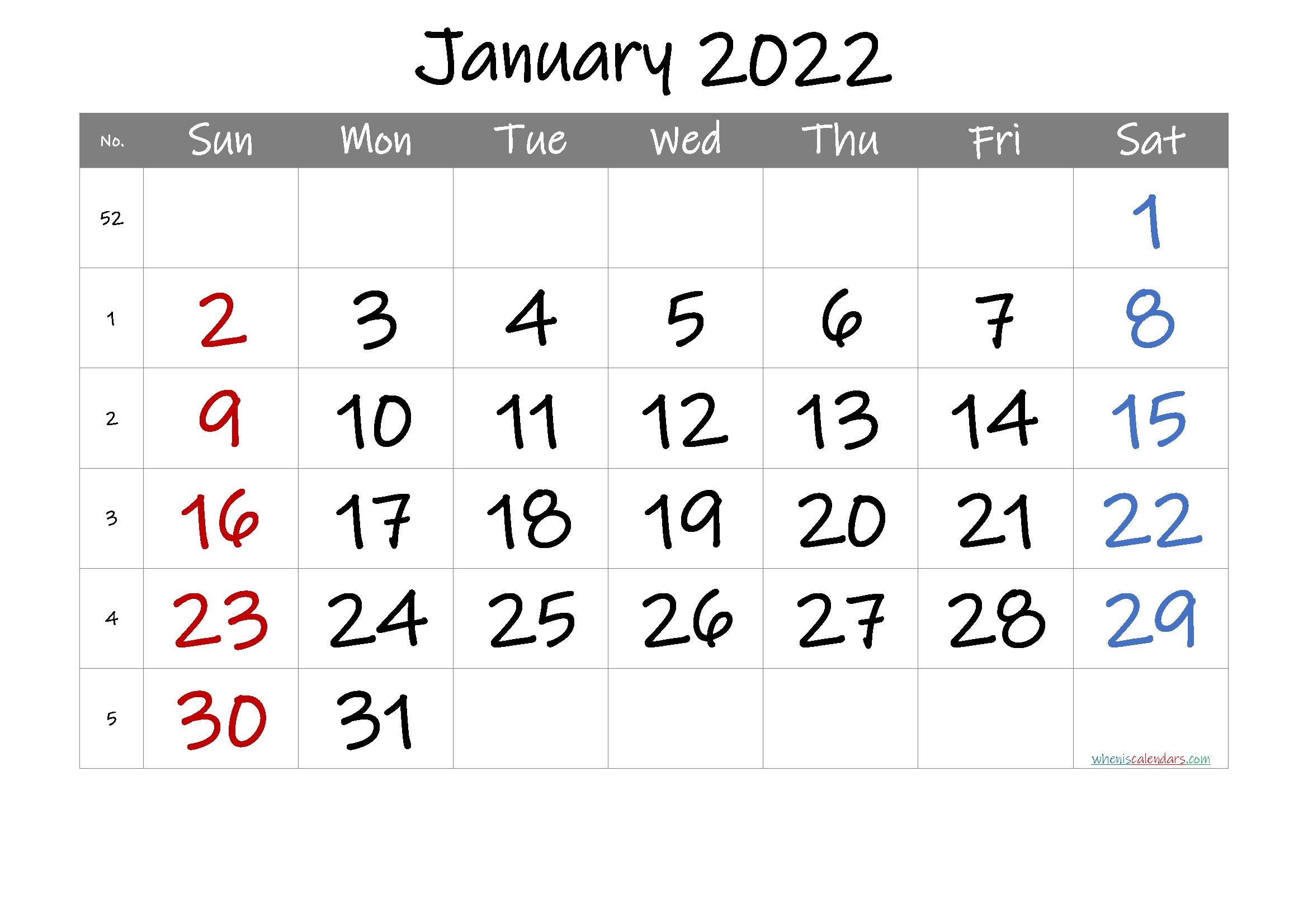 2022 January Calendar Printable.2022 January Free Printable Calendar 6 Templates In 2021 Free Printable Calendar Printable Calendar Calendar Printables