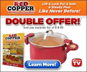 """ The Red Copper Better Pasta Pot is a revolutionary pot that allows you to drain water easily without the mess."""