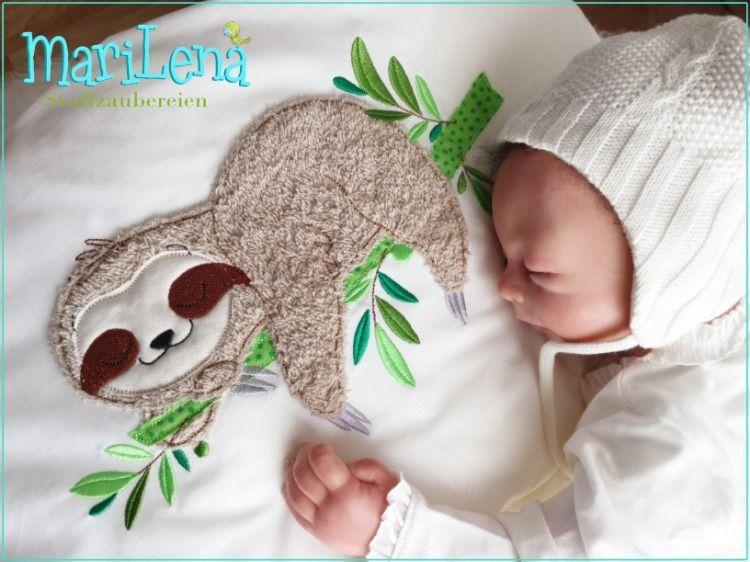 stickdatei faultier appli 18x30 doodle embroidery sloth
