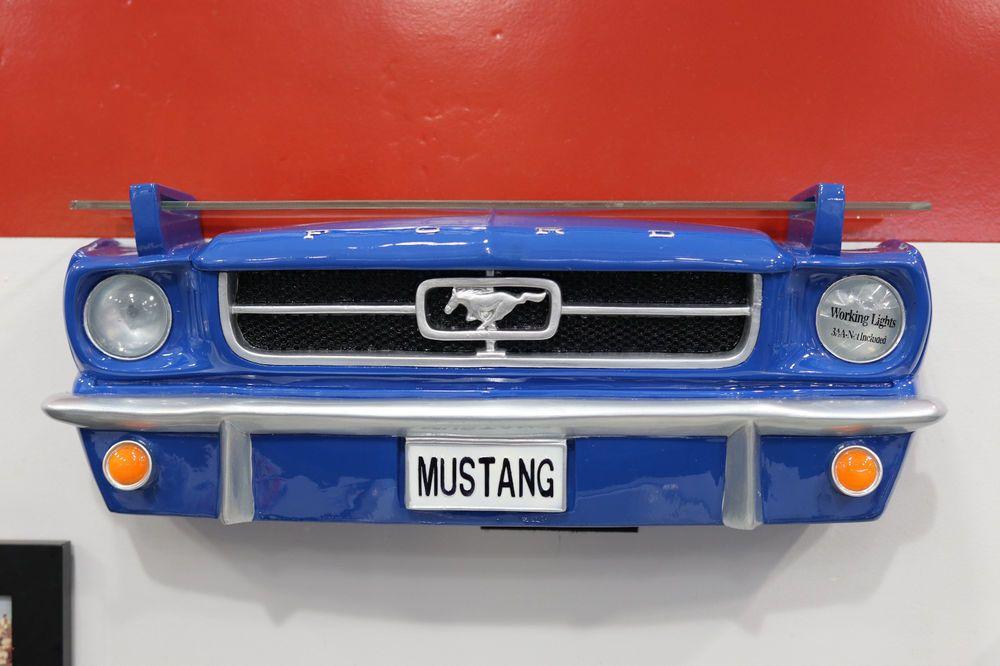 Classic Ford Mustang Front Painted Resin Wall Decor W Glass Shelf Lights 7580 68 Glass Shelves Shelf Lighting Blue Shelves