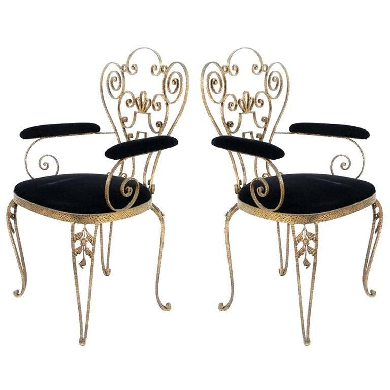 Merveilleux Rod Iron Furniture Pair Of Textured Wrought Iron Chairs From The For Sale  At Wrought Iron Patio Furniture Legs