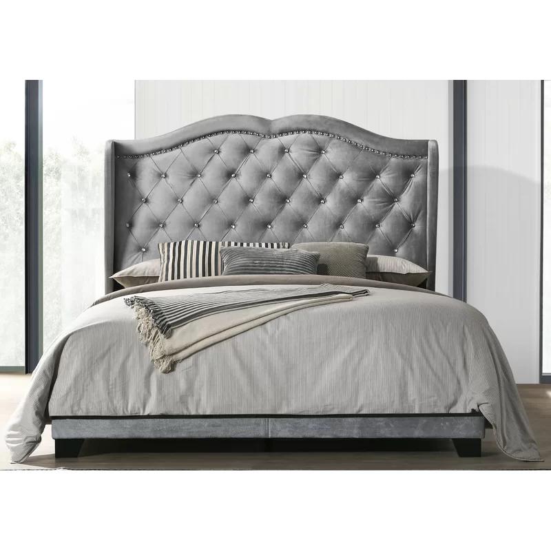Yusuf Tufted Upholstered Low Profile Standard Bed Bedroom Bed Design Upholstered Platform Bed Room Design Bedroom
