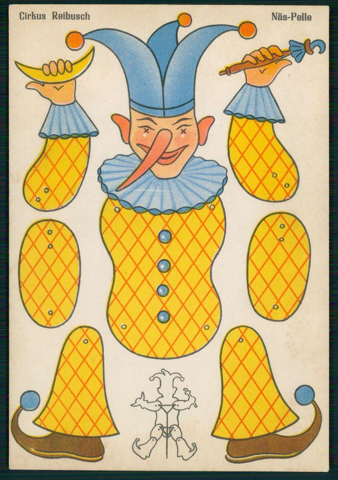 Art Paper Doll Cut Out Clown Circus Schuburg Original Old c1940s ...