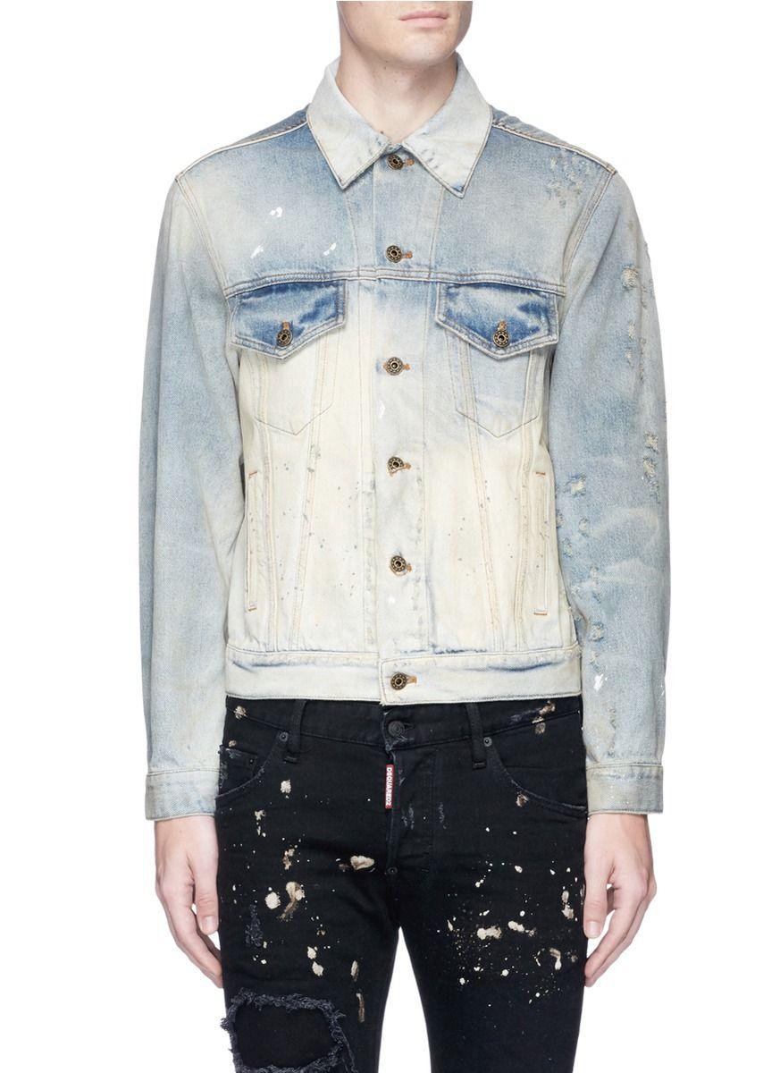 e940fca623 FAITH CONNEXION Distressed bleached cotton denim jacket.  faithconnexion   cloth  漂染磨破纯棉牛仔夹克