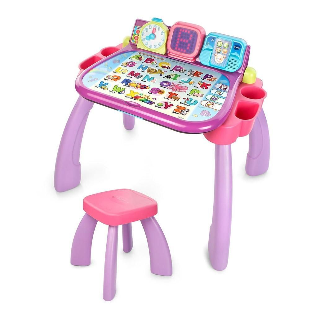 Touch And Learn Activity Desk Table Chair Purple Pink Vtech