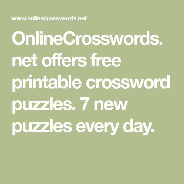 picture relating to Onlinecrosswords Net Printable Daily named specials free of charge printable crossword puzzles
