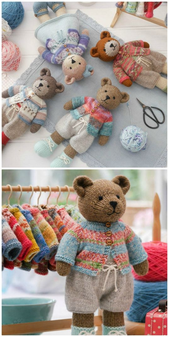 Knitted Teddy Bear Patterns You'll Love #crochetbearpatterns