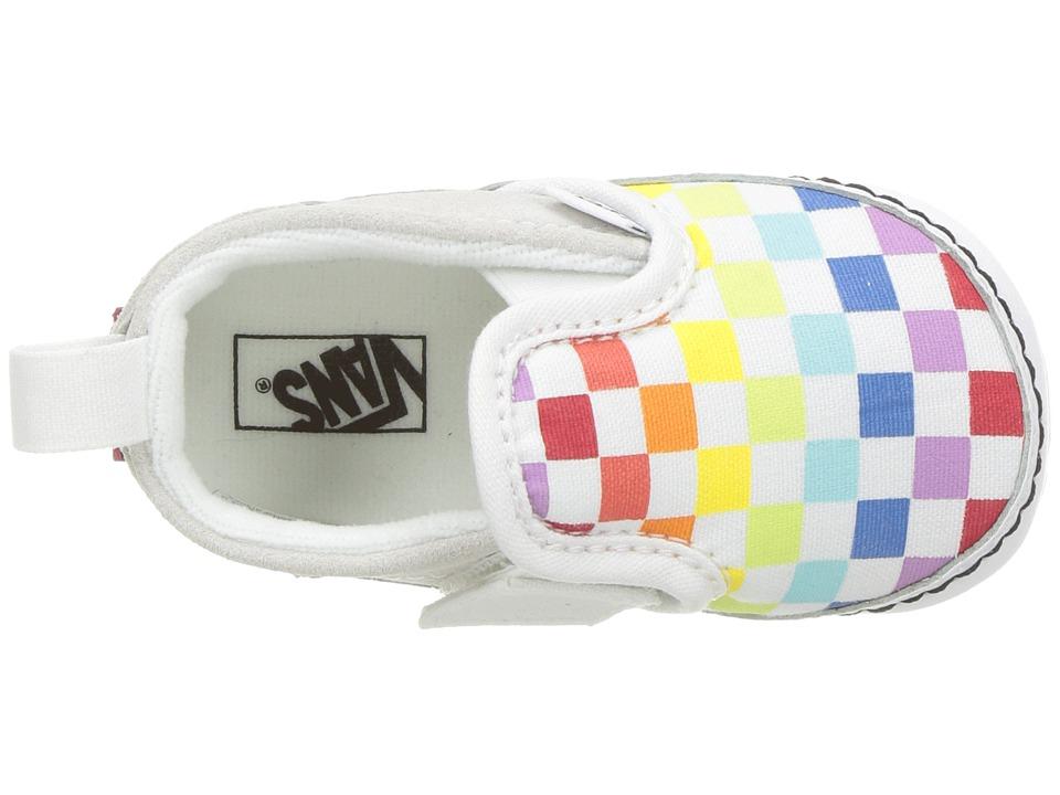 Vans Kids Slip-On V Crib (Infant Toddler) Girls Shoes (Checkerboard) Rainbow  True White b2384f6c7