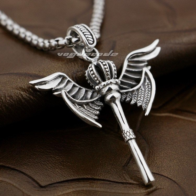 Angels can fight Sterling Silver Dagger /& Wings Pendant