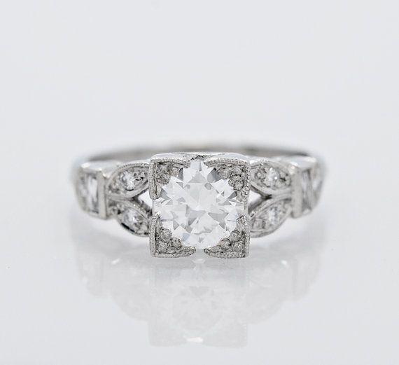 0.91 CT Diamant & Platin Art-Deco Stil von GesnerEstateJewelry