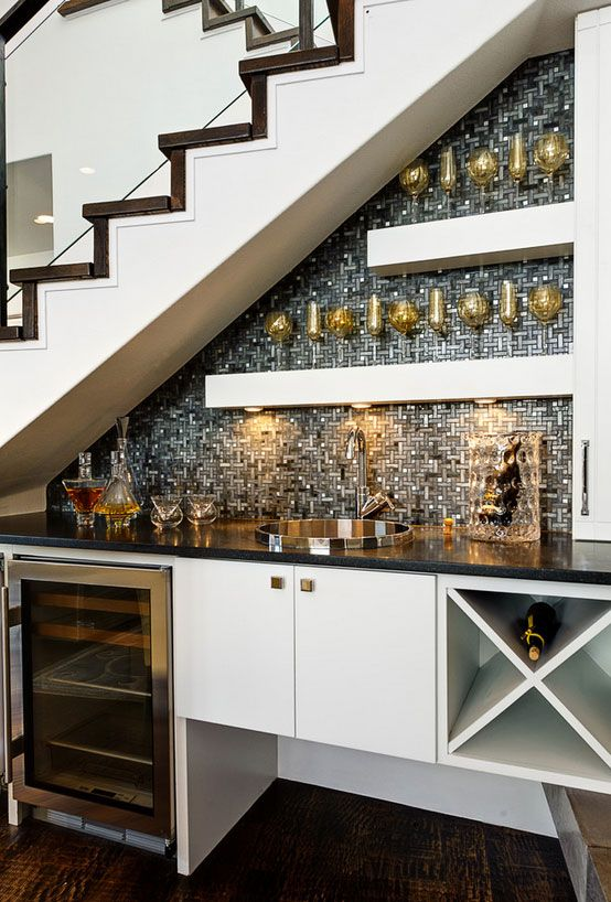 Kitchen Cabinets Under Stairs 10 inspiring kitchens under the stair | bar, coffee and wine