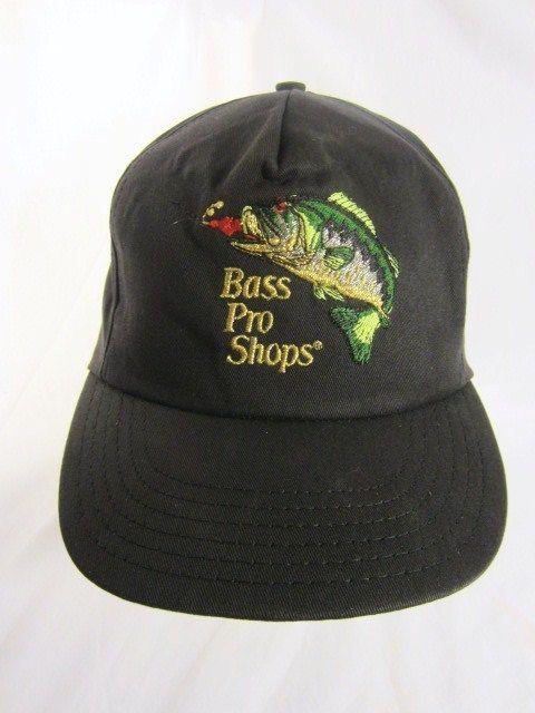 Bass Pro Shops Ball Cap Embroidered Logo Black Usa Made Vintage Trucker Hat Vtg