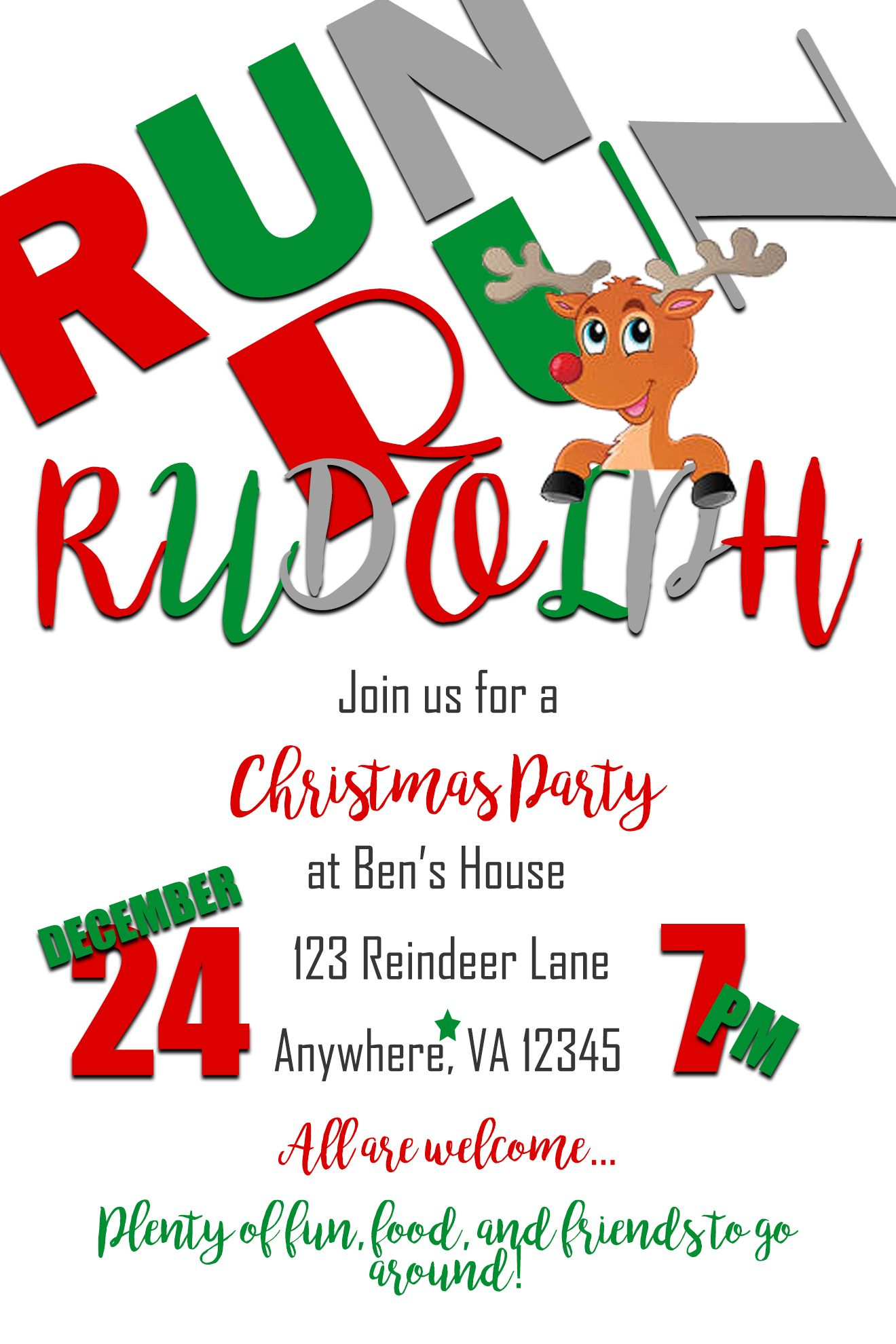 Run Run Rudolph Christmas Party Invitation (With images