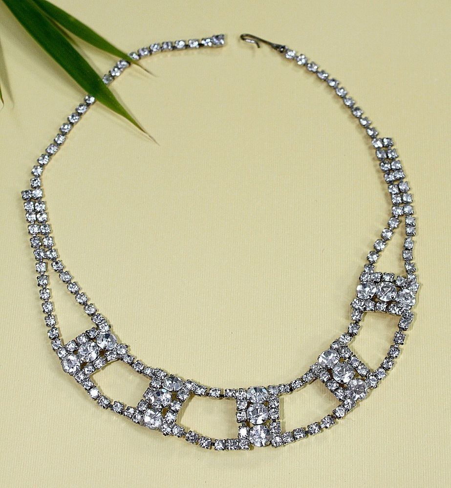Vintage Rhinestone Necklace / Choker ~ Clear Rhinestones ~ Holiday Gift For Her #Choker