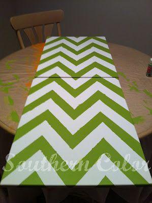 Southern Color: DIY Chevron Stripe Canvas Board