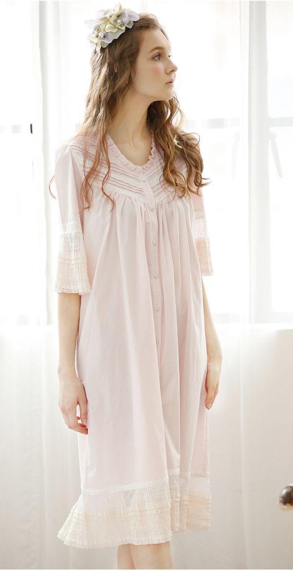 2bf3be95285d Pink Blue Green Vintage Cotton Shirt Nightdress