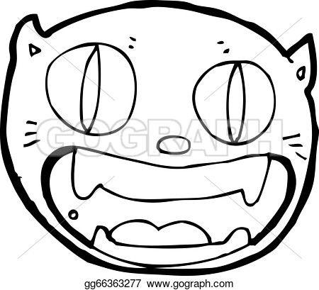 Vector Art - Cartoon crazy cat face. Clipart Drawing ...