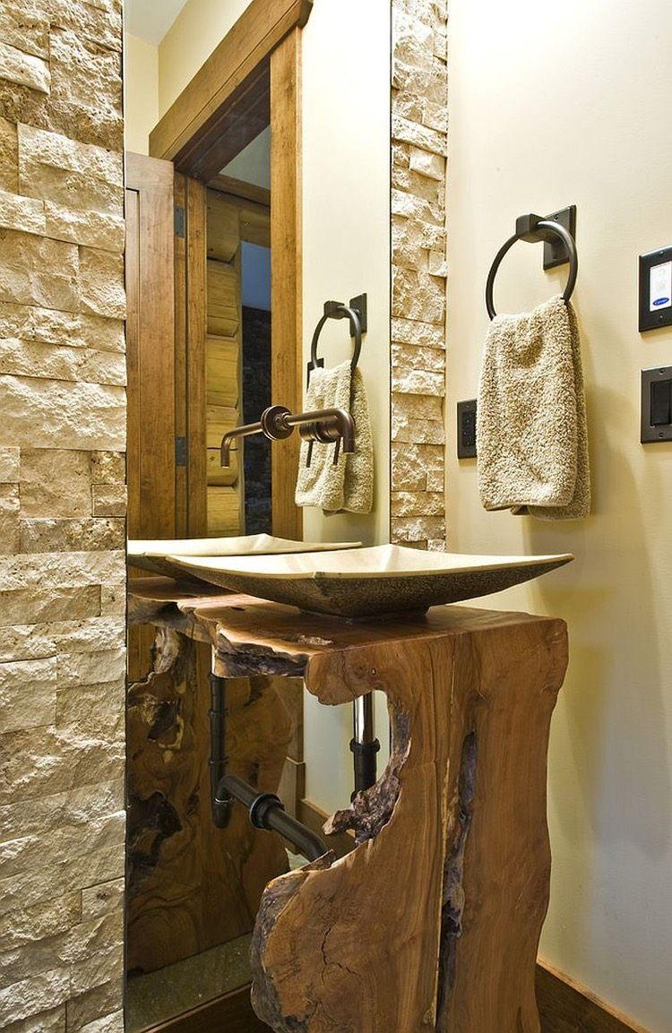 Plan vasque bois brut dans la salle de toilette – osez le style live ...