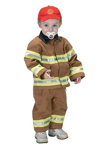 Jr Fire Fighter Suit with embroidered Cap, size 18Month (tan - 18 month halloween costume ideas