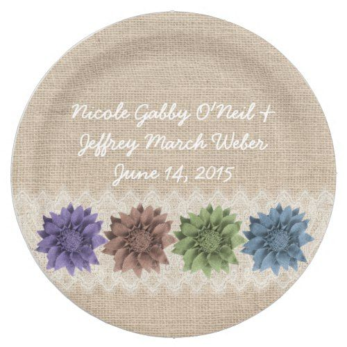 Rustic Burlap Floral Country Wedding Paper Plate | Winter Wedding ...