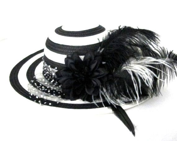 Black and White Hat with Flowers and Feathers by HairFlowersBridal