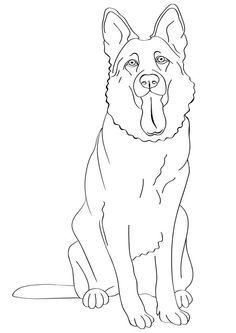 Free Printable Dogs And Puppies Coloring Pages For Kids German Shepherd