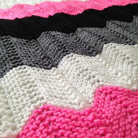 Hand Knit Zig Zag Baby Blanket By Lab5091 On Etsy 40 00 Ripple