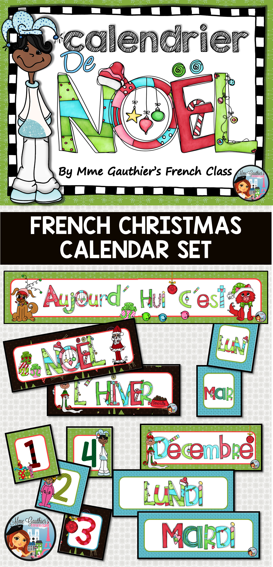 French Christmas Calendar Set