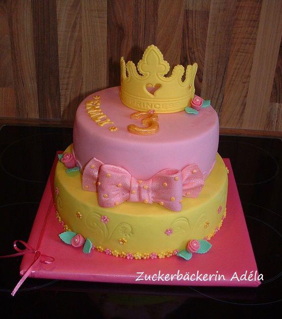 Prinzessinnen - Torte, mit Krone, Rosen, Blumen und einer Schleife
