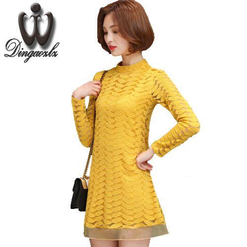 709366e8381 2017 Plus size Vestidos Hollow out Women lace top long sleeve Patchwork Chiffon  shirt Organza Casual