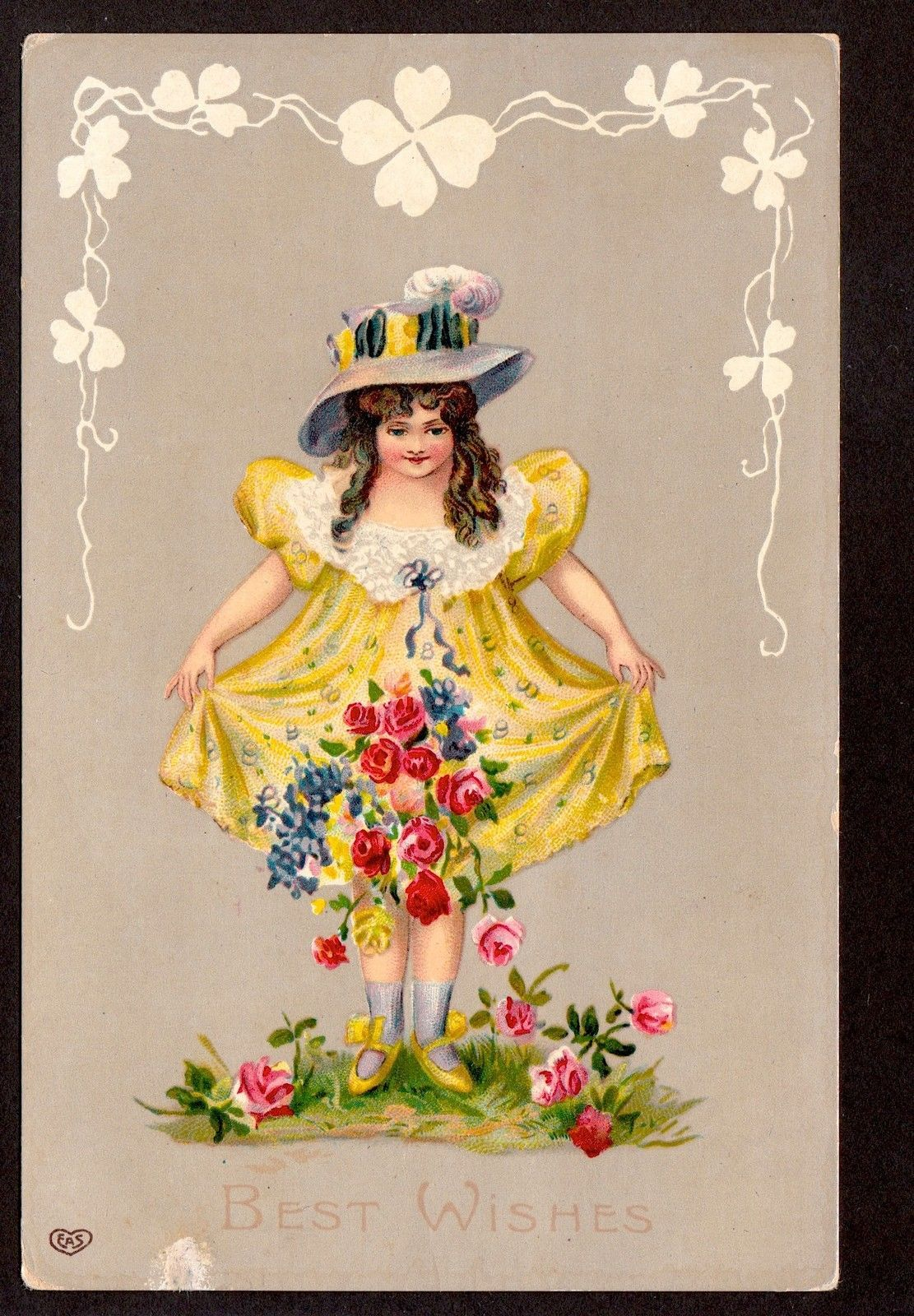 C1910 EAS Girl in Yellow Picking Flowers Best Wishes Greetings Postcard | eBay