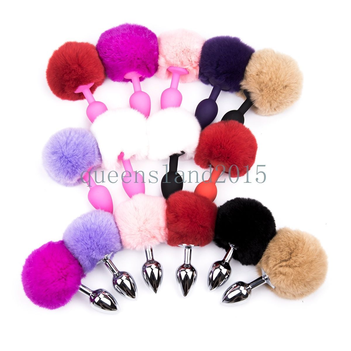 d278bd94f Fluffy Real Fur Bunny Rabbit Tail Plug Cosplay Animal Pet Tails Silicone  Head