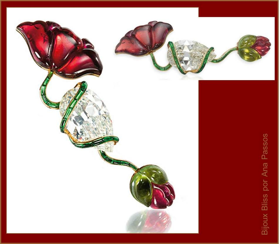 These are the catalogue views from the Lily Safra sale.  Poppy Brooch, 1989, with a central pear-shaped polished diamond of 37.43 carats, pink and green tourmalines, mounted in gold. Flowers in unexpected ways are also a hallmark of JAR.