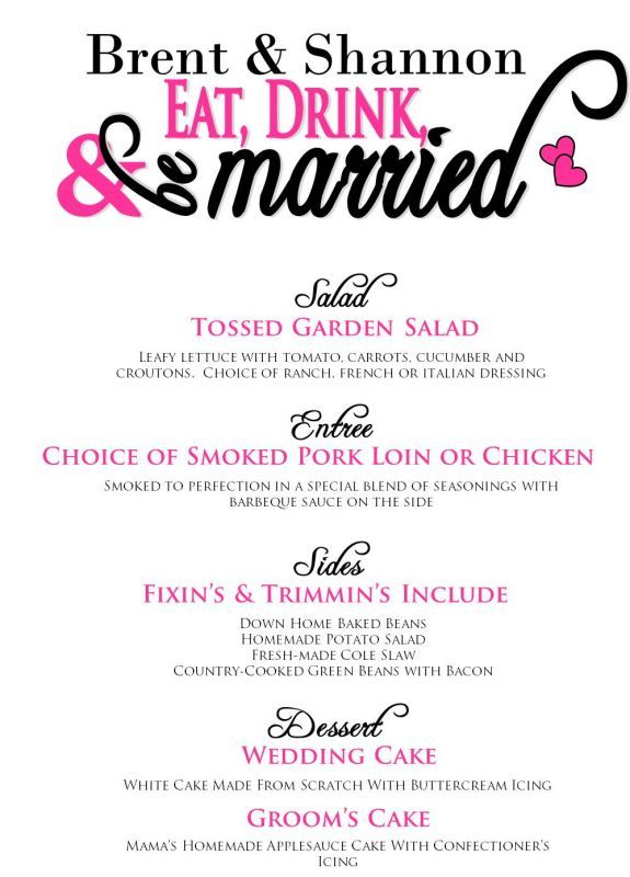 Here S An Idea For The Menu At Tamara Reception