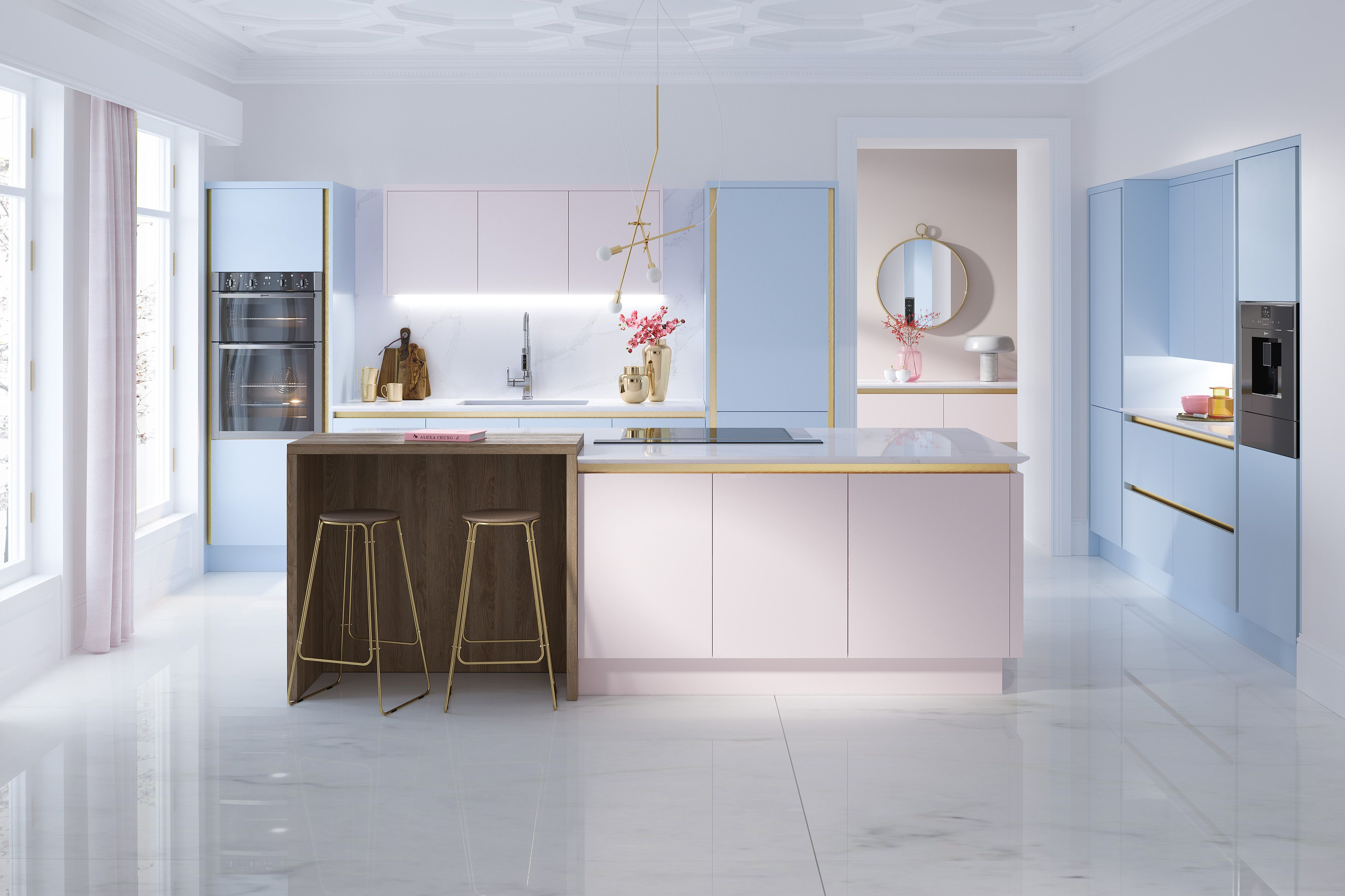Macaroon CGI kitchens on Behance | Wren kitchen, Pastel ...