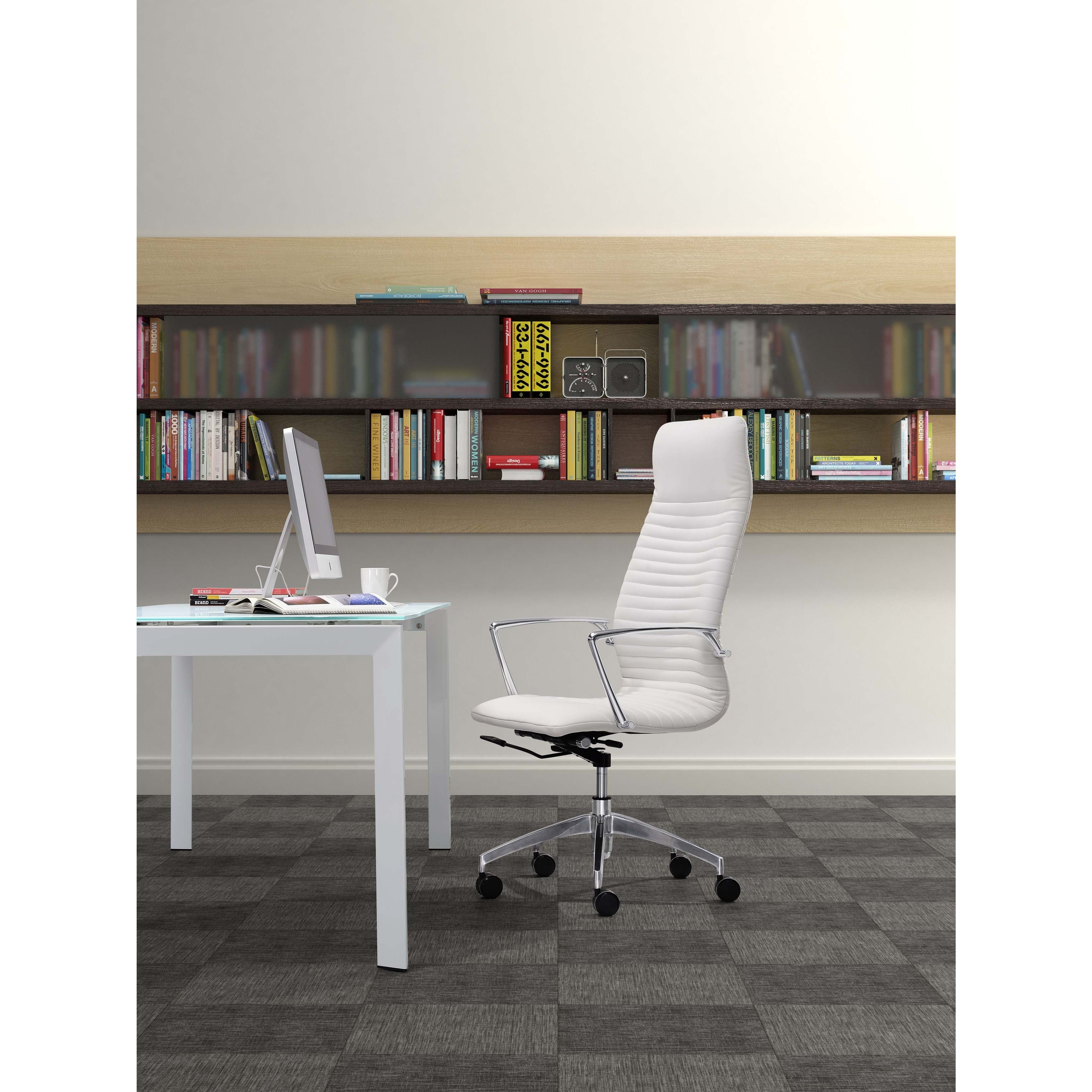 classy chair logo design. This gorgeous office chair features a classy white faux leather upholstery  chromed steel finish and