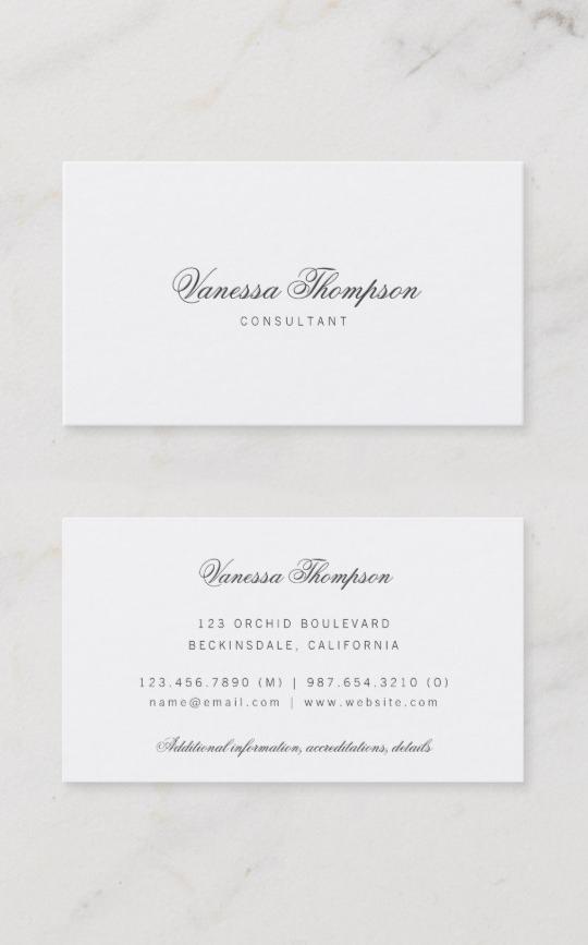 Simple Elegant Classy Script Minimalist Business Card Zazzle Com Classy Business Cards Minimalist Business Cards Business Cards Simple